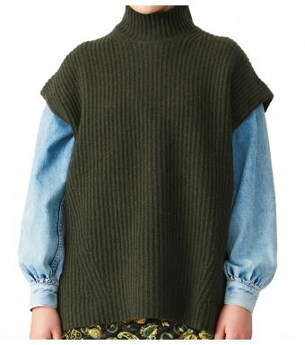 Ganni K1590 Vest Rib Knit, 784 Dark Green