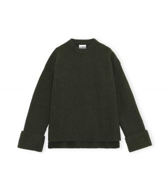Ganni K1592 Pullover Rib Knit, 784 Dark Green