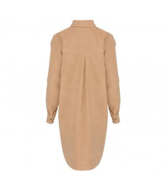 Tiffany Sira Dress Small Ribbed Corduroy, Camel