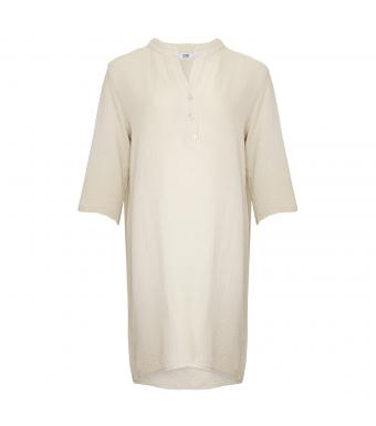 17690 Skjortklänning Dubbel Bomull, Sabbia