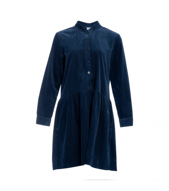 Tiffany Short Dress Small Ribbed Corduroy 191222, Blue Navy