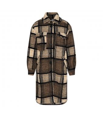 Tiffany Valley Long Coat Checked Wool, Beige/dark Natur