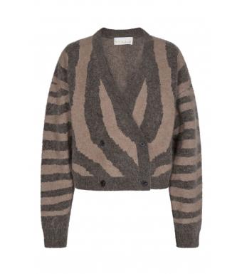 Remain Cami Cardigan Knit Zebra Print, Major Brown Comb