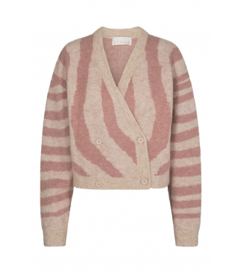 Remain Cami Cardigan Knit Zebra Print, Lobster Bisque Comb