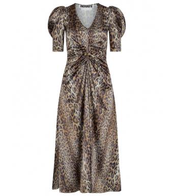 Rotate Sierina Slit Dress, Dijon Comb.