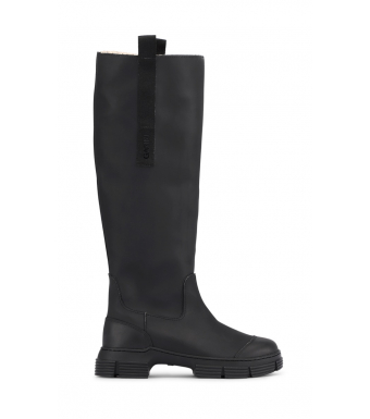 Ganni S1597 Recycle Rubber, Fur Country Boot, Black