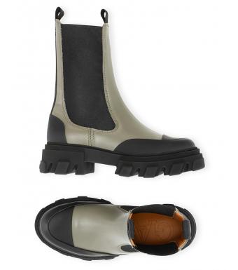 Ganni S1602 Mid Chelsea Boot Calf Leather, 861 Kalamata