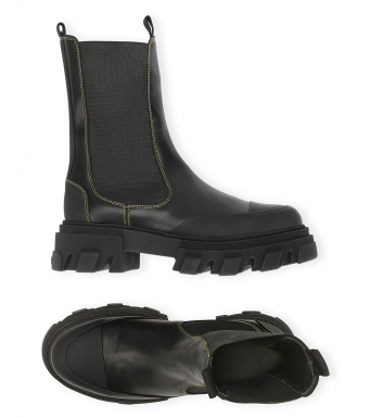 Mid Chelsea Boot Calf Leather S1752, 099 Black