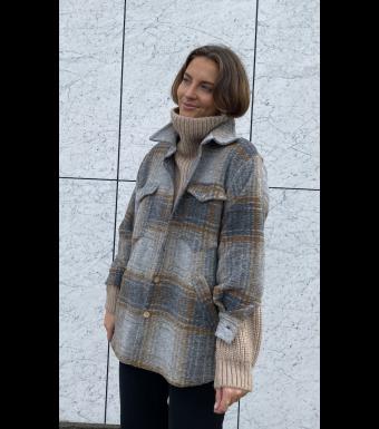 Tiffany Valley Short Coat Checked Wool, Brown/grey