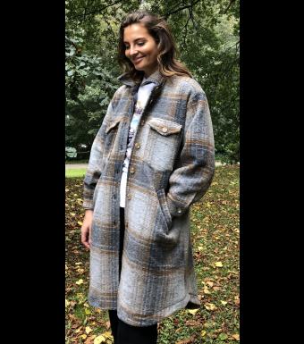 Tiffany Valley Long Coat Checked Wool, Brown/grey