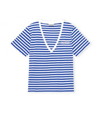 Ganni T2907 V-neck Stripe T-shirt Stripe Thin Software Jersey, 572 Daphne