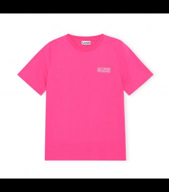 Ganni T2917 O-neck T-shirt Thin Software Jersey, 483 Shocking Pink
