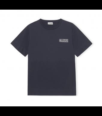 Ganni T2917 O-neck T-shirt Thin Software Jersey, 683 Sky Captain