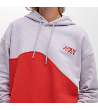 Ganni T2955 Oversized Hoodie Wave Software Isoli, 712 Misty Lilac