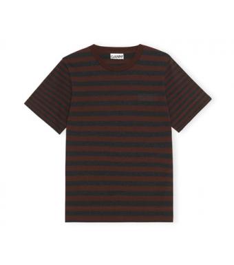 Ganni T2960 O-neck Thin Stripe Thin Software Striped Jersey, 897 Mole
