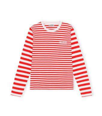 Ganni T2962 O-neck T-shirt L/s Thin Software Striped Jersey, 472 High Risk Red