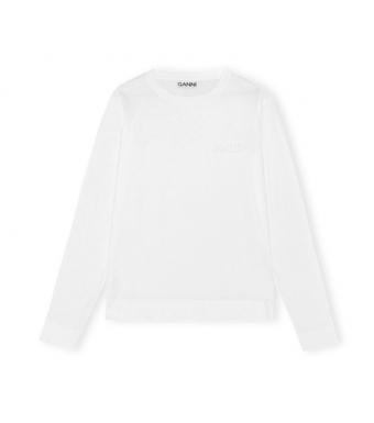 Ganni T2983 O-neck T-shirt L/s Thin Software Jersey, 001 White