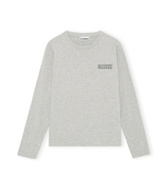 Ganni T2983 O-neck T-shirt L/s Thin Software Jersey, 921 Paloma Melange