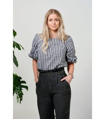 Tiffany Nimm Highwaisted Pant Linen, Antracit Grey