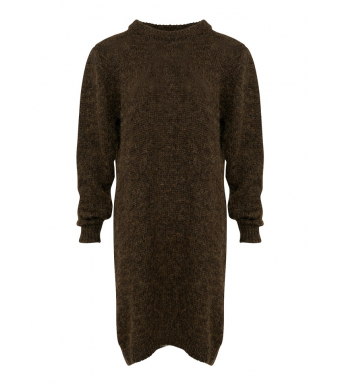 Tiffany Scalo Dress Knit, Dark Brown/cobber