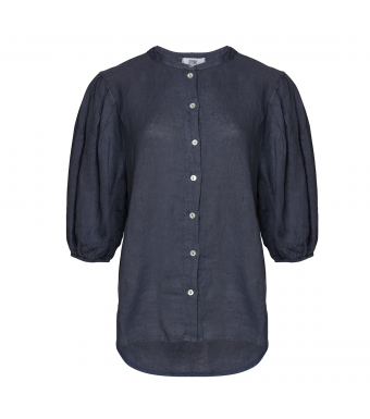 Tiffany Clara Button Blouse Linen, Denim Blue