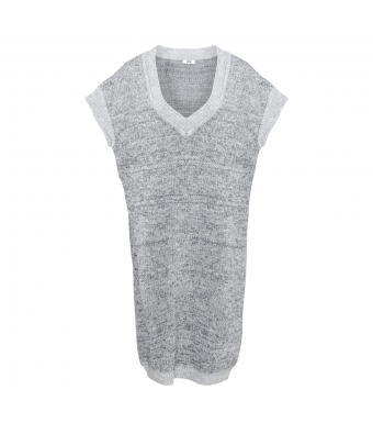 Tiffany Zenia Long Slipover Knit, Grey Melange