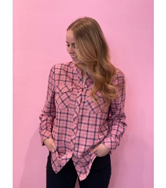 Evelyn Shirt Viskose, Dusty Rose/blue Checked