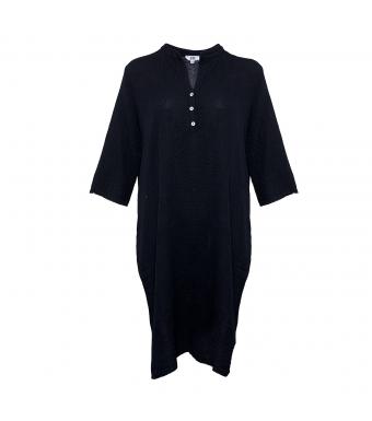 18970 Skjortklänning Dubbelbomull, Svart