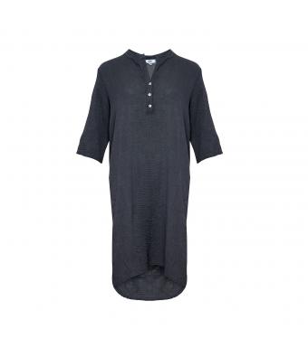 Tiffany Bomuldsskjortekjole Mørkegrå Forfra